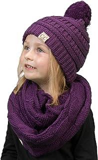 Kids Beanie & Scarf Bundle (POM): Purple