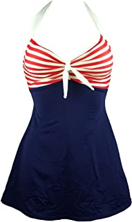 Vintage Sailor Pin Up Swimsuit Retro One Piece Skirtini Cover Up Swimdress(FBA)