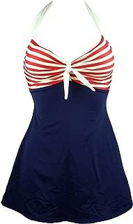 Vintage Sailor Pin Up Swimsuit Retro One Piece Skirtini...