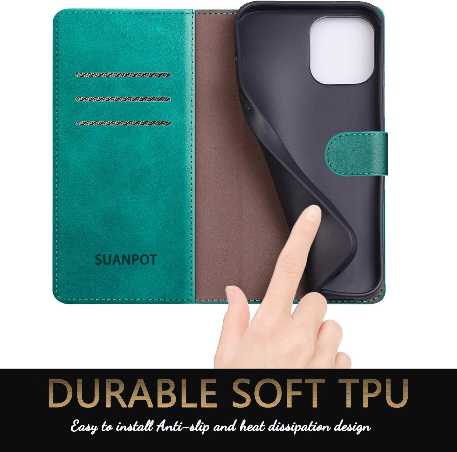 SUANPOT for iPhone 12 Pro Max Leather Wallet case with RFID Blocking Credit Card Holder, Flip Folio Book Magnetic PU Cell Phone Plus Cover for Apple 12 promax Leather case for Men Women 6.7