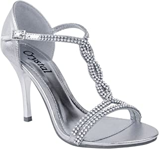 Fashion Thirsty Womens Diamante High Heel Prom Shoes Wedding Bridal Evening Sandals