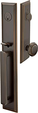 Emtek Contemporary Tubular Entry Set: Melrose Style with a Norwich Knob on The Interior Side. 2 Backsets Included (2-3/8, 2-3