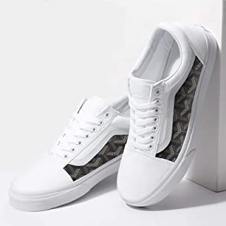 Vans White Old Skool x Brown French Pattern Custom Handmade Shoes By Fans Identity