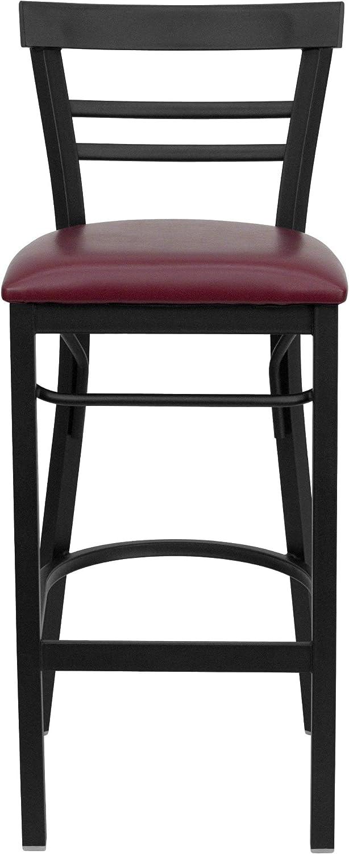 Flash Furniture HERCULES Series Black Ladder Back Metal Restaurant Bar Stool - Burgundy Vinyl Seat