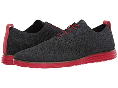 Cole Haan Original Grand Stitchlite Wing Tip Oxford (Black/Gray Pinstripe Knit/Flame Scarlet) Men