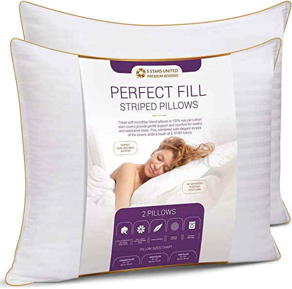 King Size Bed Pillows For Sleeping 20x36 2 Pack Mid Loft Soft Fiber Fill Hypoallergenic Stripe Cover Top Alternative To Feather And Down Bedding Fit Queen Double And Twin Beds