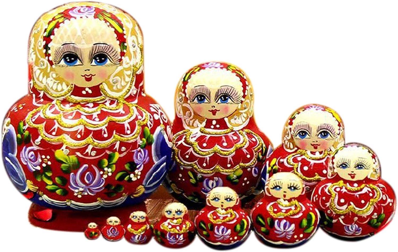 10-PCS Handgefertigt Das Holzgeschenkspielzeug Professionelle Matroschka Marke 10 St/ück Matroschka Russische Nistpuppen