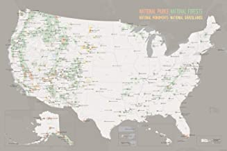 US National Parks, Monuments & Forests Map 24x36 Poster (White & Gray)