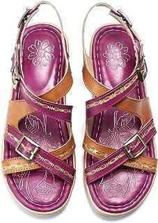Sandalias de Verano para Mujer Bohemia Sandalias Retro Cuñas de Corte Bajo Hechas a Mano Sandalias de Costura al Aire Libre Antideslizantes Zapatillas de Confort Lago Azul Púrpura