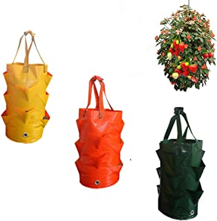 3 Pack Strawberry Grow Bags, 3 Gallon Hanging Strawberry Planting Containers, Hanging Planter with Handles for Growing Str...