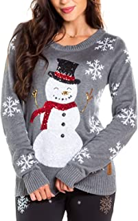 Women's Sequin Snowman Christmas Sweater - Gray Snowflake...