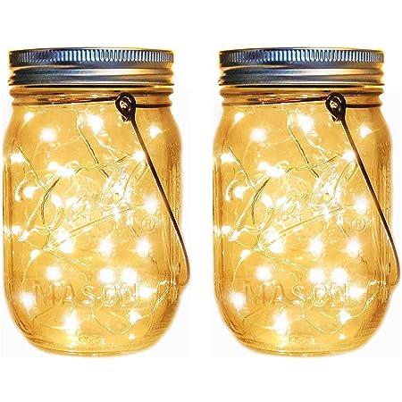 Reuyer メイソンジャー風ソーラーライト 屋外 ガーデンライト 夜間自動点灯防水 LED ソーラー充電式 イルミネーション ガラスライト 屋外装飾 (2パック)