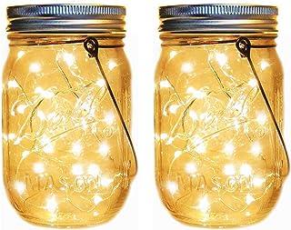 メイソンジャー風ソーラーライト 夜間自動点灯LEDガーデンライト 防水IP65 屋外吊り下げライト20 ledストリングフェアリースターホタルジャーライト暖かい白防水ソーラーランタン用ガーデンパティオ屋外装飾 (2パック)