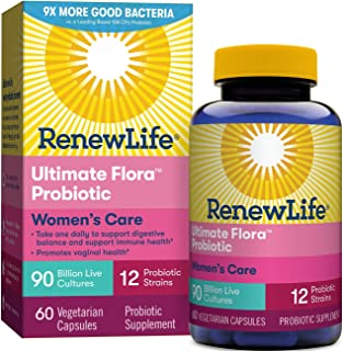 Renew Life Women's Probiotic - Ultimate Flora Women's Care, Probiotic Supplement - Gluten, Dairy & Soy Free - 90 Billion CFU - 60 Vegetarian Capsules
