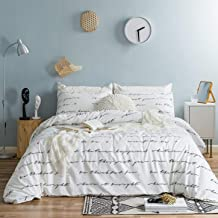 SUSYBAO 3 Piece Duvet Cover Set 100% Natural Cotton White King Size Black Love Letters Bedding Set with Zipper Ties 1 Red Hearts Print Duvet Cover 2 Pillowcases Luxury Quality Soft Fade Resistant