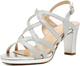 DREAM PAIRS Women's Open Toe Ankle Strap Sparkly Strappy Chunky Heel Pump Sandals