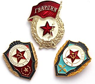 Soviet, USSR ORIGINAL Set of 3 Military Pins Police Cold War Era KGB.