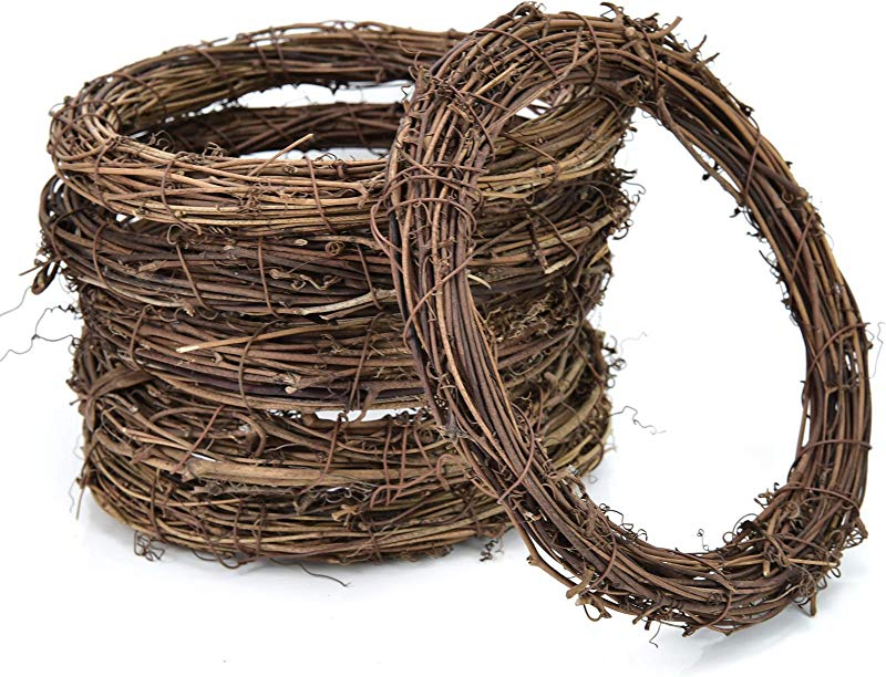 AQUEENLY Grapevine Wreath 6 PCS Twigs Wreath DIY Vine Wreath Decorations For Front Door Wall Hanging 7 9 Inches