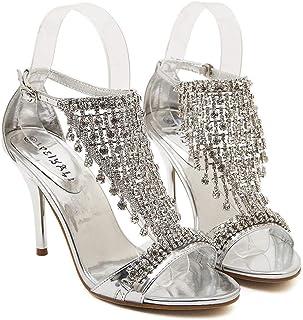 Rhinestone Wedding Shoes, Dress High Heels (Color : Silver, Size : 37)