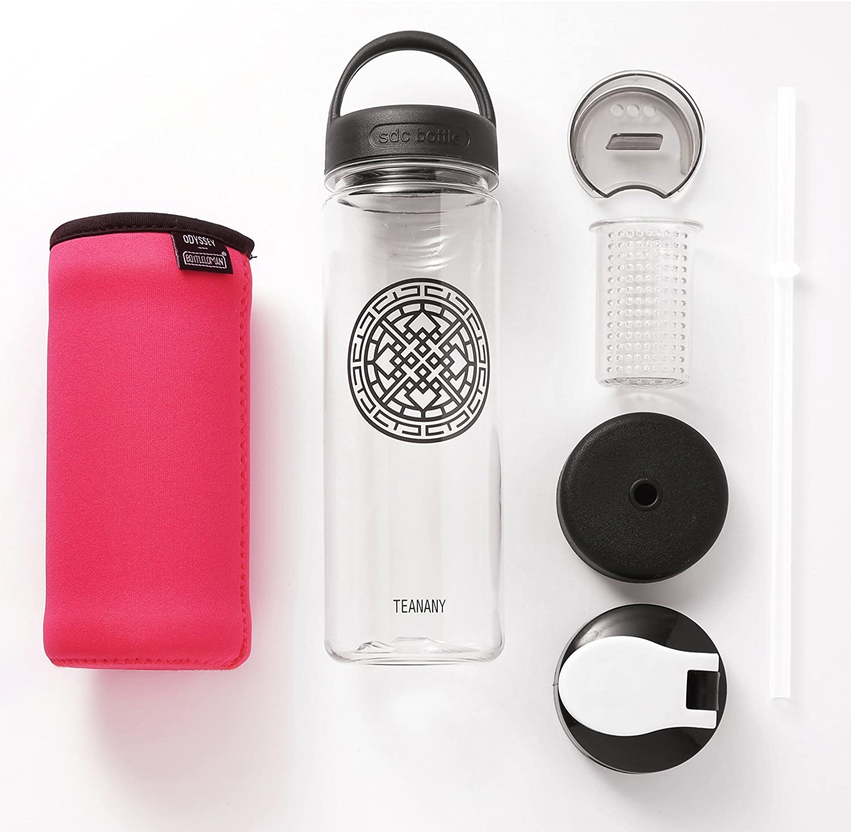 [ All in One ] Water Fruit Tea Infuser Bottle BPA Free & EcoFriendly Tritan Additional Caps Straw Lid Handle Lid Sports Flip Lid