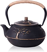 JUEQI Japanese Cast Iron Teapot Kettle with Stainless Steel Infuser/Strainer, Plum Blossom 30 Ounce (900 ml)