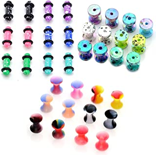 36pc Ultra-Thin Silicone Colorful Double Flared Plugs + Acrylic Tunnel Plugs + Ear Stretching Plugs Kit Gauges 8g-1/2