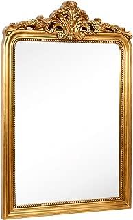 Hamilton Hills Top Gold Baroque Wall Mirror | Rich Old World Feel Framed Beveled Elegant Glass Mirror | Entryway Bathroom or Powder Room (28