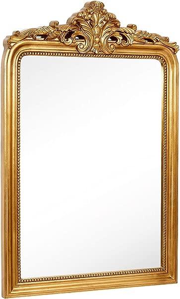 Hamilton Hills Top Gold Baroque Wall Mirror Rich Old World Feel Framed Beveled Elegant Glass Mirror Entryway Bathroom Or Powder Room 28 X 42