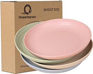 Shopwithgreen Lightweight Unbreakable Wheat Straw Plates - Extra Large-4 Pack 8.8'' Deep Dinner Plates, Dishwasher Microwa...