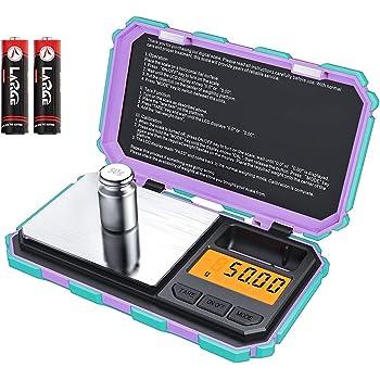 Brifit Digital Mini báscula, 200 g/0.01 g balanza de bolsillo, 50 g de peso de calibración, escala inteligente electrónica, 6 unidades, visualización LCD retroiluminada, tare, apagado automático, acero inoxidable (batería incluida)