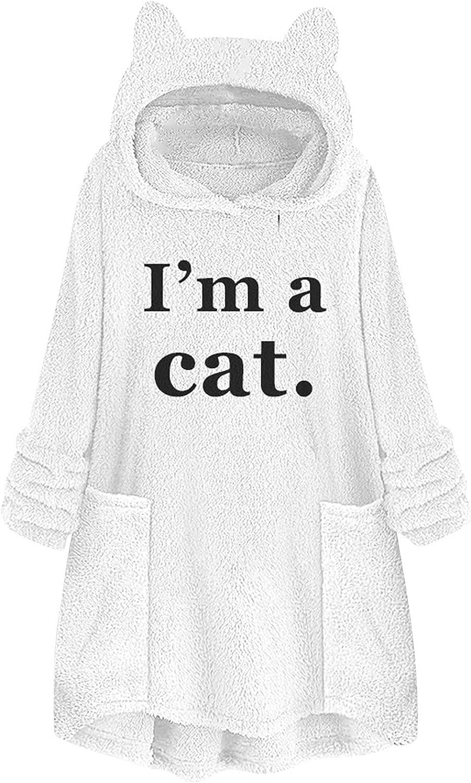 Women Hoodie Cat Ear Cap Plush Tops Fashion Loose Plus Size Long Sleeve Pullover Sweatshirt Mid-Length Fleece Coat