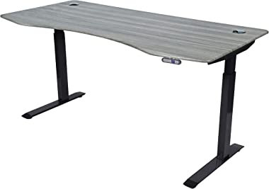 "ApexDesk Elite Series 71"" W Electric Height Adjustable Standing Desk, Memory Controller (71"" Rustic Grey Top, Black Frame)"