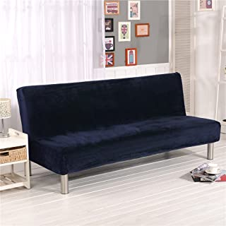 19V78 Plush Sofa Cover,Sofa Bed Cover Futon Slipcover Solid Color Full Folding Elastic Armless 80 x 50 in,Navy