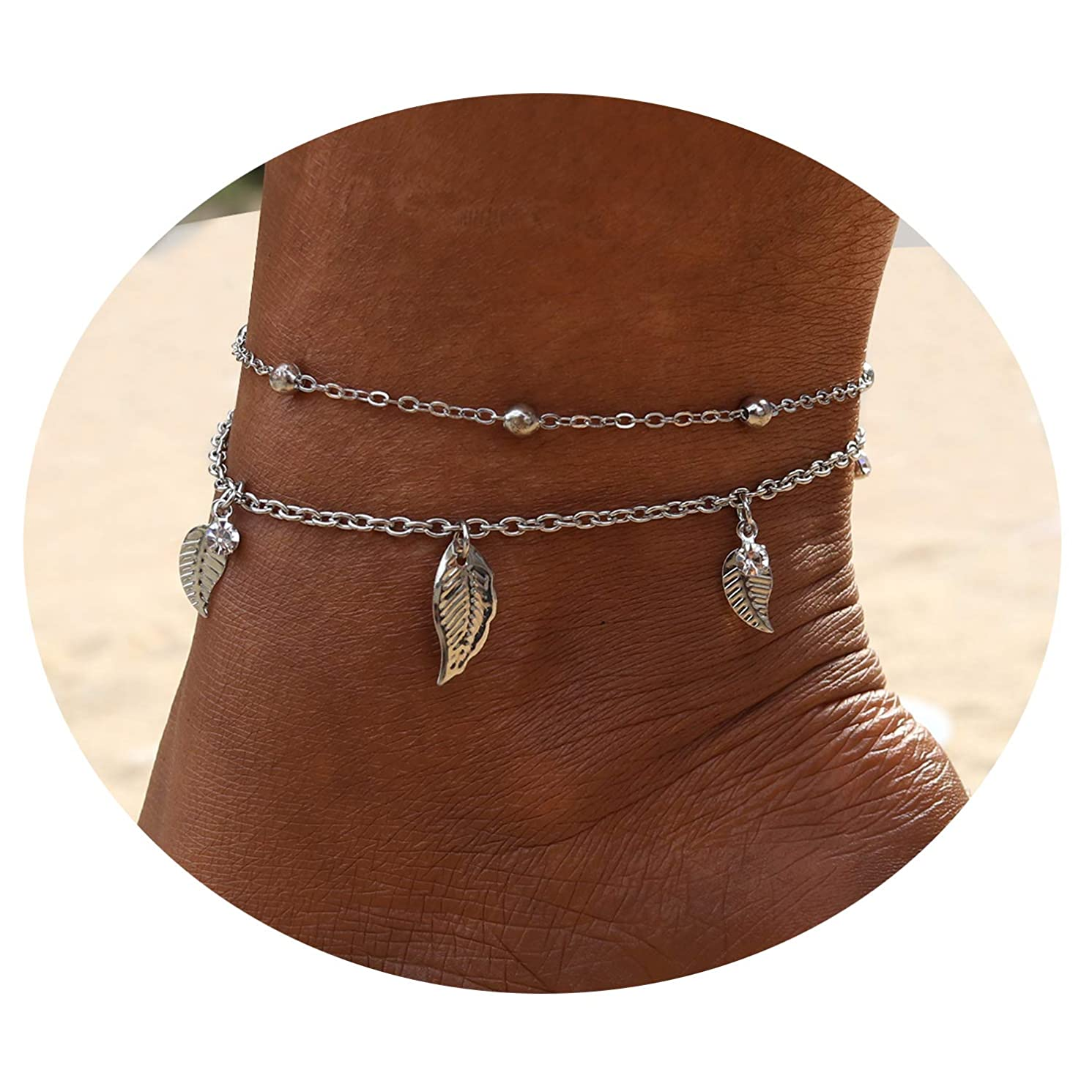 Eivanc Multilayer Metal Anklet Crystal Shell Adjustable Turtle Tassel Tree of Life Anklet Beads Sea Handmade Layered Boho Anklet Foot Jewelry Gold Chain Anklet Heart Beach Anklet for Women