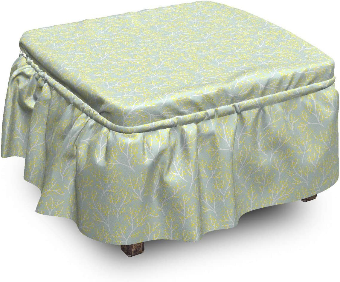 Lunarable Floral NEW before selling ☆ Same day shipping Ottoman Cover Branches 2 Print Blemishes Piec