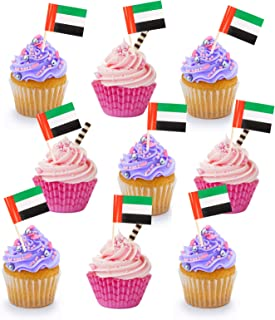 100 pieces UAE Flag Double Sided Cake Topper Countries Toothpick Flag UAE Flag Day UAE National Day Party Supplies Flag De...