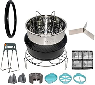 Electric Cooker 6 QT 13 Pieces - Accessories: Steamer Basket, Springform Baking Pan, Sealing Ring, Pan Lifters, Mitts, Steamer Divider, Egg Steam Rack, Egg Slicer and 4-in-1 Magnet Sheet