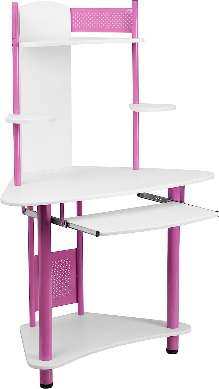 Flash Austin Mall Furniture Pink Corner with Computer Popular overseas Desk Hutch