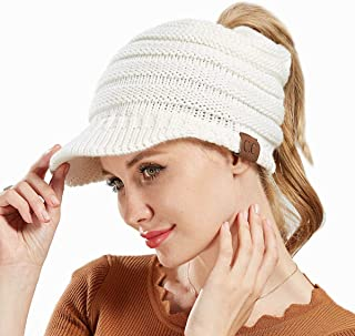 YMXHHB BeanieTail Soft Stretch Cable Knit Messy High Bun Ponytail Beanie Hat Ribbed Hat Cap