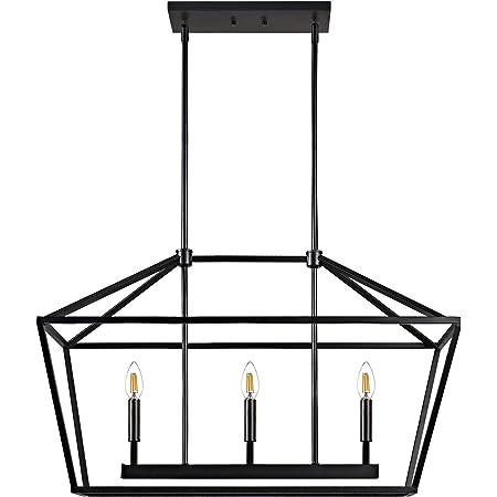 Motini 3 Light Kitchen Island Lantern Pendant Linear Chandelier Black Rod Hanging Light 32 X 12 X 19