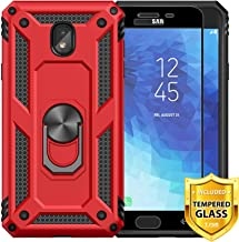 TJS Phone Case Samsung Galaxy J7 2018/J7 Refine/J7 Star/J7 Eon/J7 TOP/J7 Aero/J7 Crown/J7 Aura/J7 V 2nd Gen, [Full Coverage Tempered Glass Screen Protector][Metal Ring][Magnetic Support] Cover (Red)
