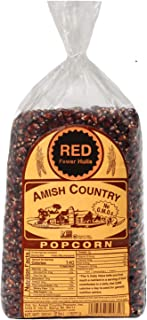 Amish Country Popcorn - Red Kernels (2 Pound Bag) - Old Fashioned, Non GMO, and Gluten Free - with Recipe Guide
