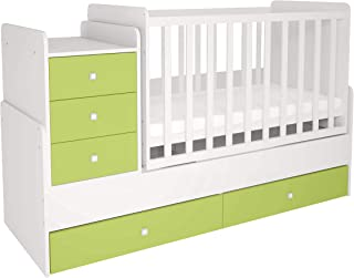 Polini Kids Kombi-Kinderbett mitwachsend mit Kommode weiß-meeresgrün