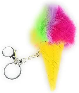 Plush Ice Cream Cone Keychain Accessories, Rainbow Fluffy Pom Pom Keyring Handbag
