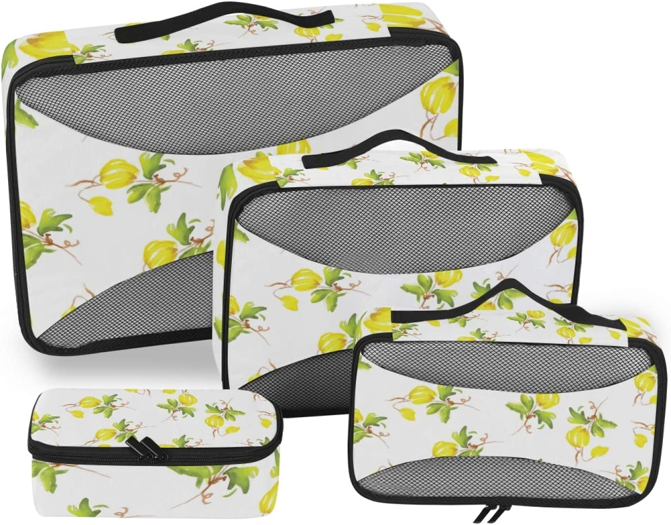 Yellow Flowers Popularity Packing Cubes 4-Pcs Travel online shopping Organizer Accessories