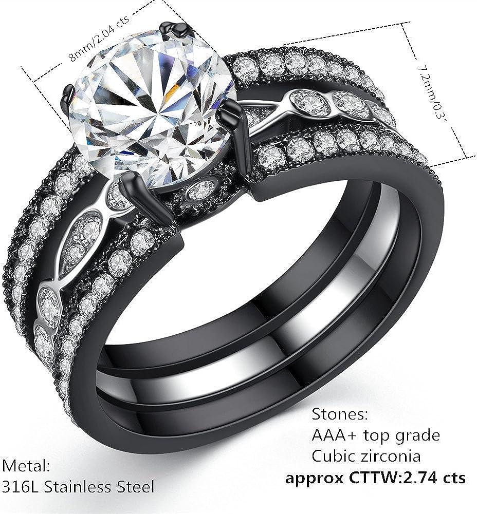 MABELLA Couple Rings Black Men's Titanium Matching Band Women CZ Stainless Steel Engagement Wedding Sets