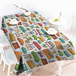 Willsd Anti-Fading Tablecloths,Doodle Various Home Interior Elements Armchair Table Mirror Design Elements Doodle Style,High-end Durable Creative Home,W52x70L Multicolor
