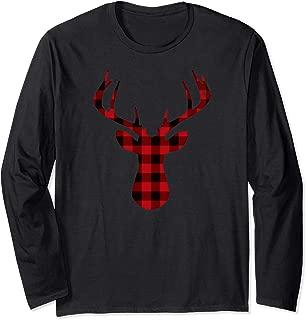 Plaid Reindeer Long Sleeve Shirt for Women Men