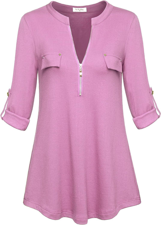 YaYa Bay Women's NotchV Neck Long Sleeve RollUp Sleeve Zip Up Casual Shirt Blouse Tops