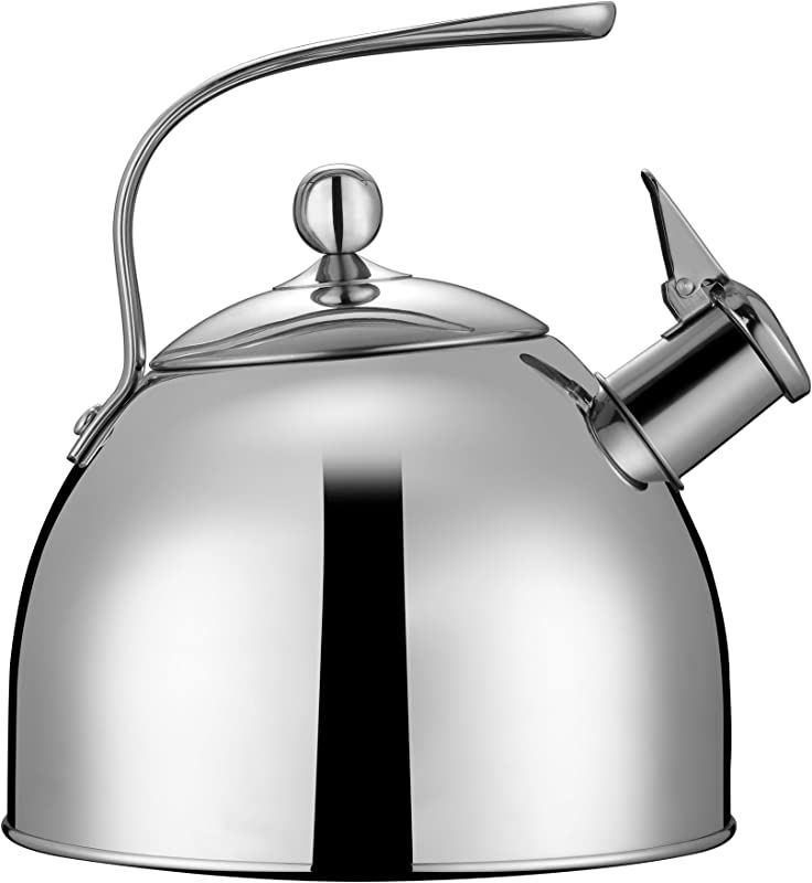 Injoy Whistling Tea Kettle 304 Stainless Steel Teapot Classic Cookware In LFGB FDA Standard For All Stovetops 1 Insulation Pad Included 2 64 Quart 2 5 L Silver